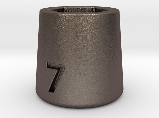 Ultra compact 7mm socket. Stainless steel. in Polished Bronzed Silver Steel
