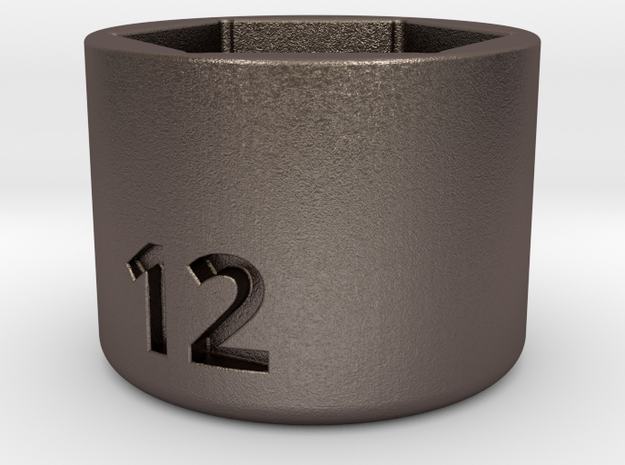 Ultra compact 12mm socket. Stainless steel. in Polished Bronzed Silver Steel