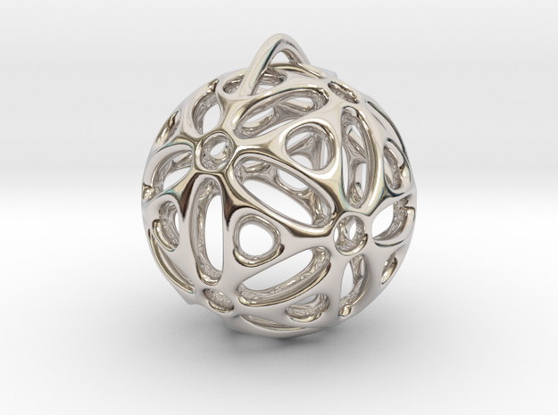 View of spherical games - part one. Pendant in Rhodium Plated Brass