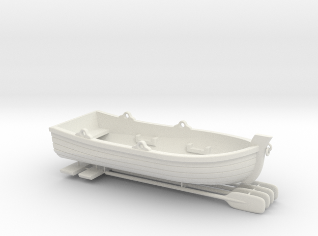Skiff or for ship to shore, lifeboat - 1/48 scale  in White Natural Versatile Plastic