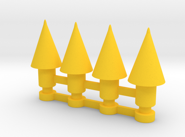 M11 Missile 4 pack in Yellow Strong & Flexible Polished