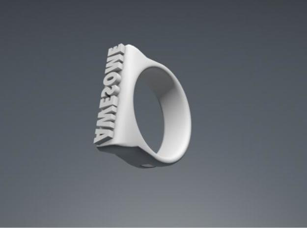"""Awesome""-punch ring 3d printed General perspective view"
