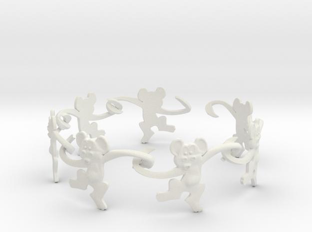 Monkey Band in White Natural Versatile Plastic