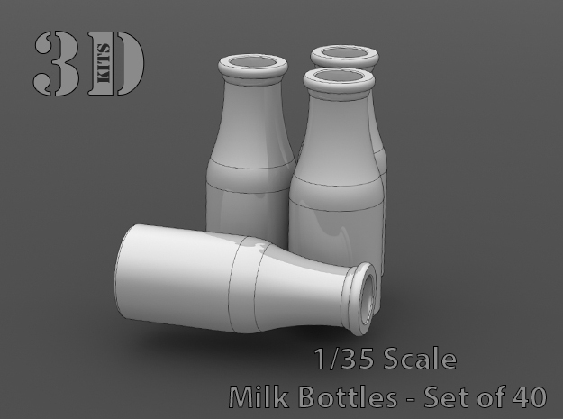 40 Empty milk bottles in Smoothest Fine Detail Plastic