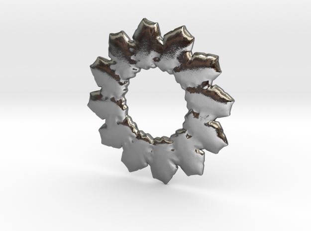 Leafs mandala base shape in Polished Silver