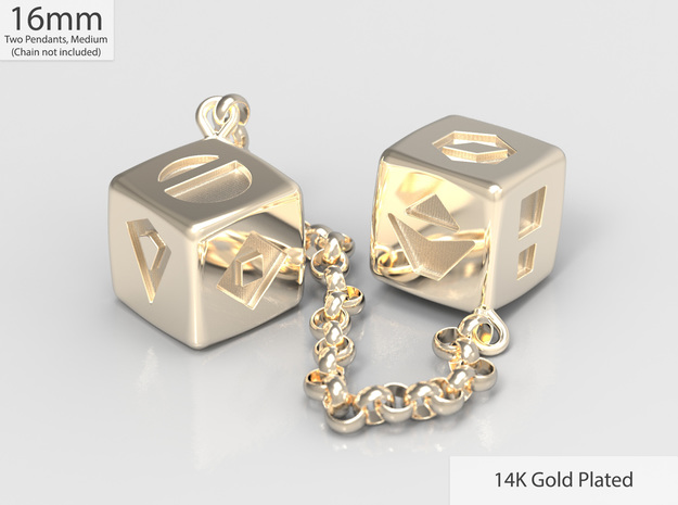 Smuggler's Lucky Sabacc Dice, Han Solo, Star Wars in 14k Gold Plated: Medium