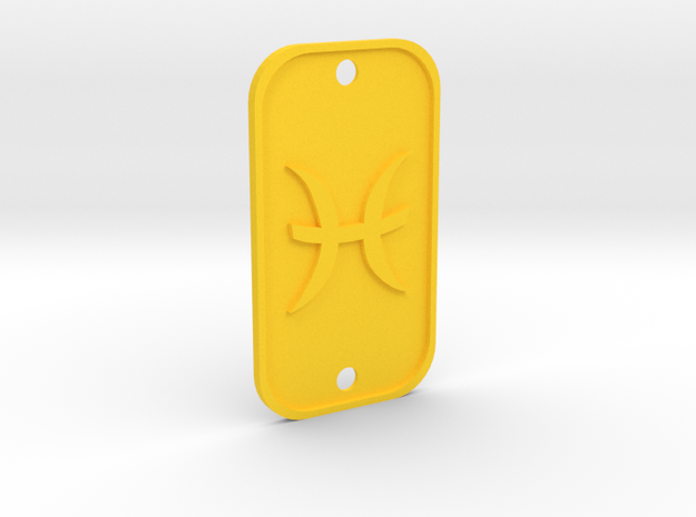 Pisces (The Fish) DogTag V1 in Yellow Processed Versatile Plastic