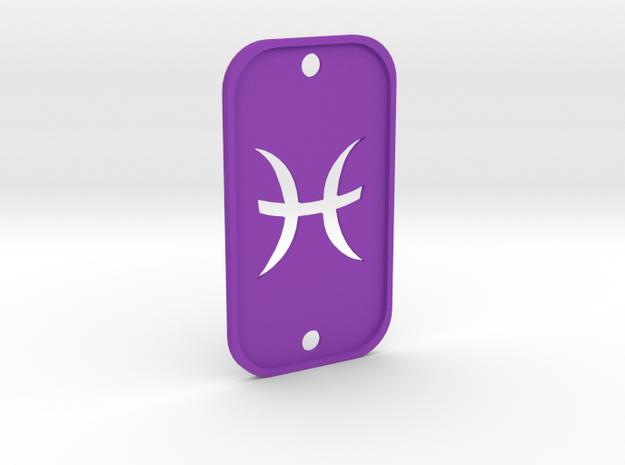 Pisces (The Fish) DogTag V2 in Purple Processed Versatile Plastic
