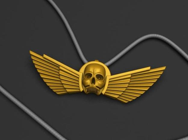 Winged Skull Pendant 6Cm 3d printed Front Render