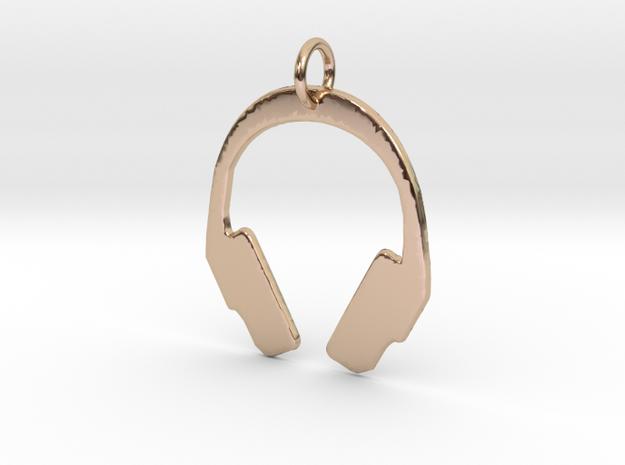 Headphones Precious Metal Pendant in 14k Rose Gold Plated Brass