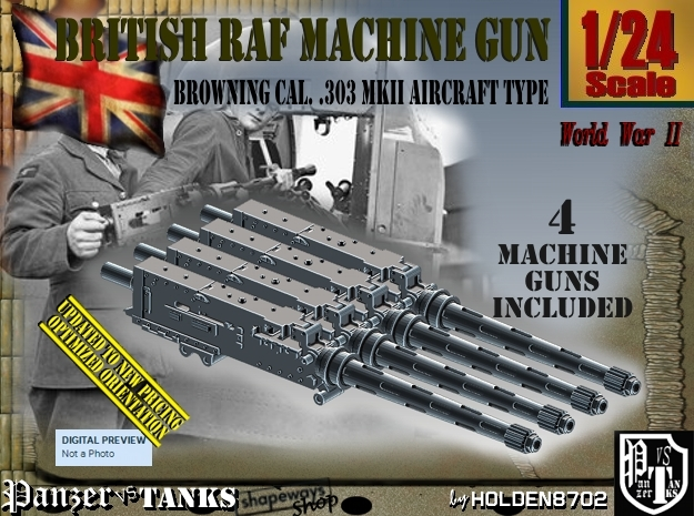 1/24 Browning 303 MkII RAF Set001 in Frosted Ultra Detail
