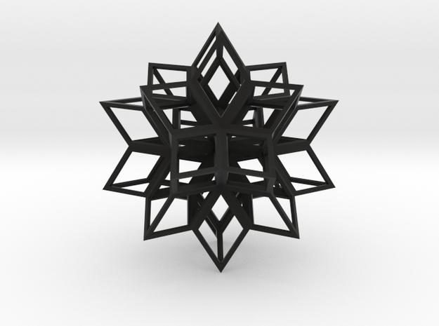 Rhombic Hexahedron, Large in Black Natural Versatile Plastic