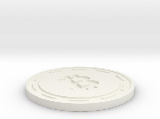 Bitcoin Themed Coaster in White Strong & Flexible