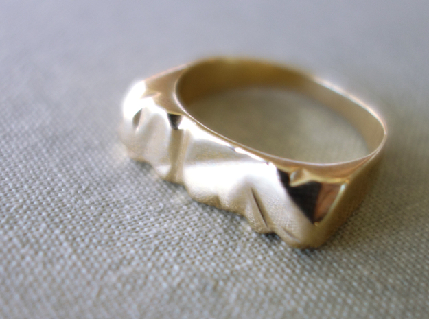Abstract Stone Ring in Polished Brass
