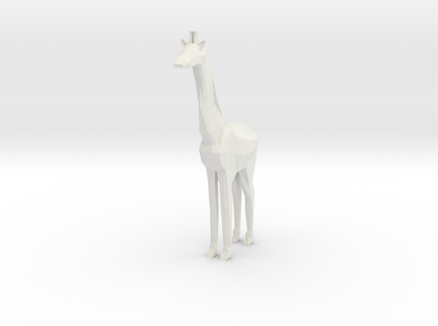 Low Poly Giraffe in White Natural Versatile Plastic