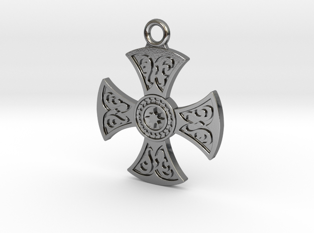 Celtic Cross Pendant in Polished Silver