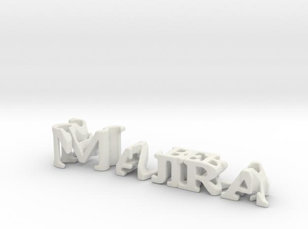 3dWordFlip: Majira/Strawberry in White Natural Versatile Plastic