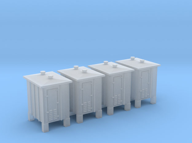 4 pcs Z scale signal relay box on sprue in Smooth Fine Detail Plastic