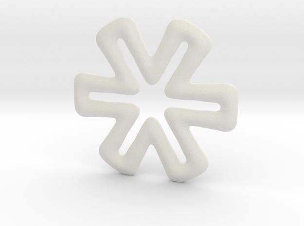 Six-ended cross base shape in White Natural Versatile Plastic