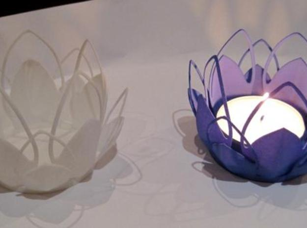 Tea-light - Flower 3d printed white, indigo