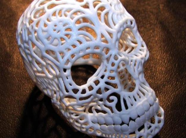 Nautilus Sugar Skull - SMALL in White Processed Versatile Plastic