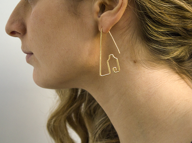 Amsterdam Canal Houses Earrings in Natural Brass