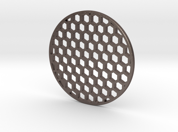 60mm kilflash honeycomb in Polished Bronzed Silver Steel