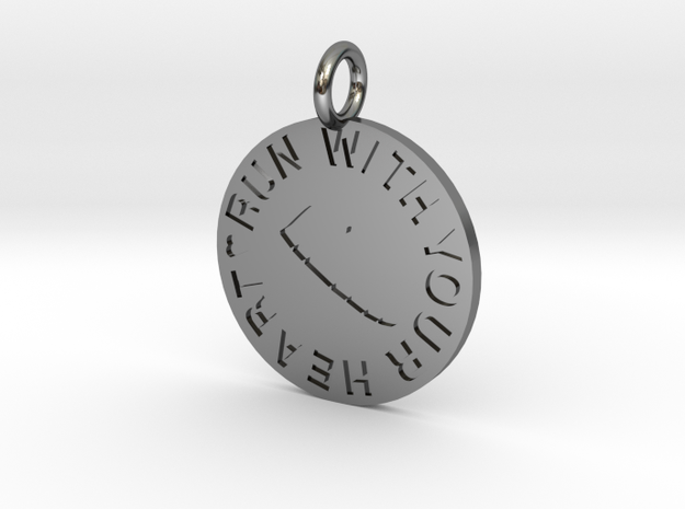 RUN WITH YOUR HEART in Fine Detail Polished Silver