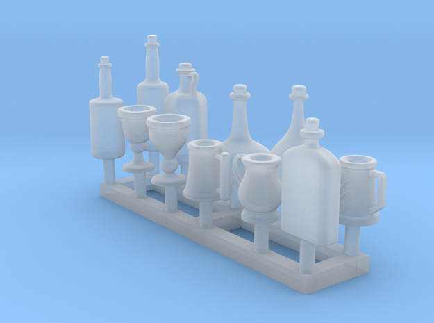 Medieval style tankards, wine bottles - 1/48 scale in Smooth Fine Detail Plastic