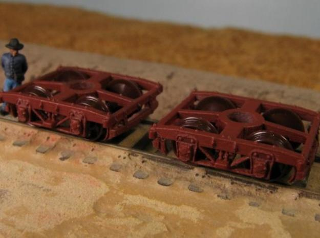 T30s N 8 wood beam trucks, Civil War USMRR, screw 3d printed T30b with MT low pros