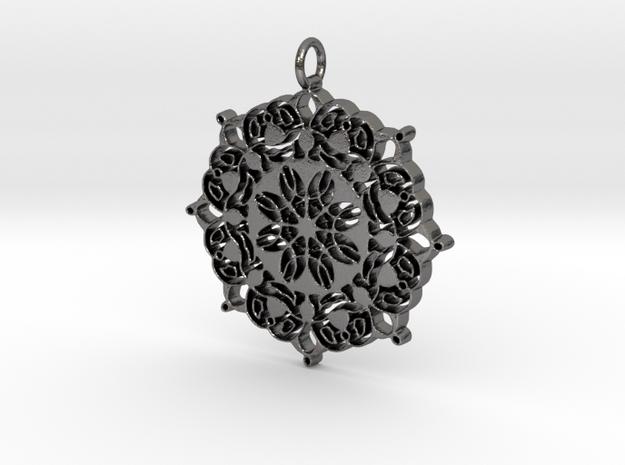 Geometric Flower Mandala  in Polished Nickel Steel