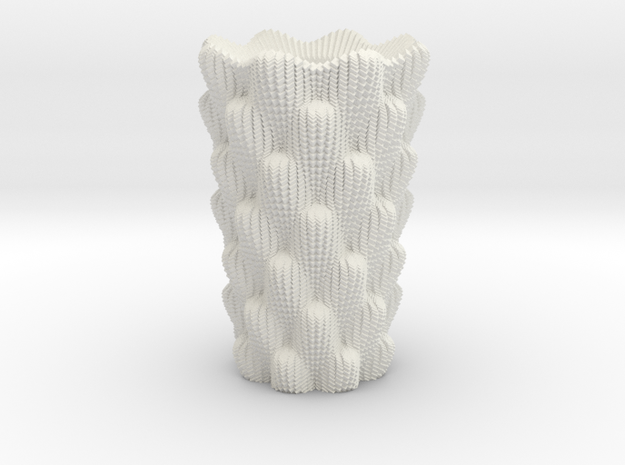 Cactus Vase 1 in White Natural Versatile Plastic