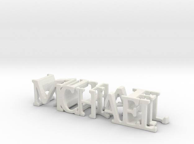 3dWordFlip: MICHAEL/NIKE in White Natural Versatile Plastic