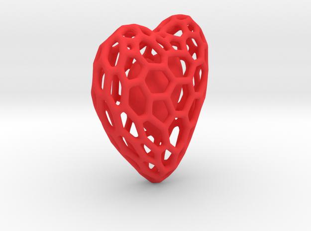 Voronoi Double Heart Pendant in Red Processed Versatile Plastic: Large