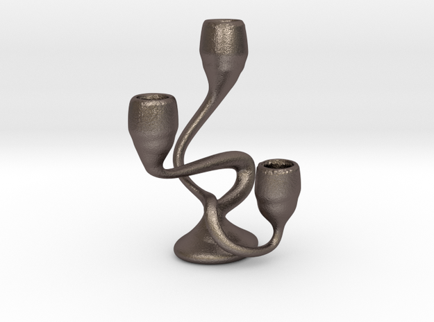 "Tripla Candelabra - Taper (1/2"") Candle in Polished Bronzed Silver Steel"