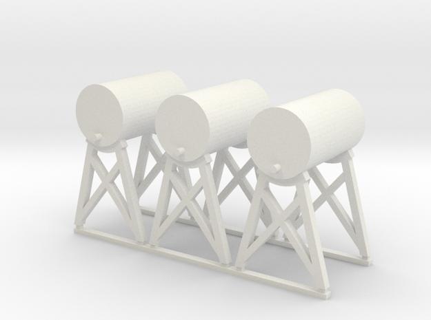 'HO Scale' - Fuel Tanks (3) in White Natural Versatile Plastic