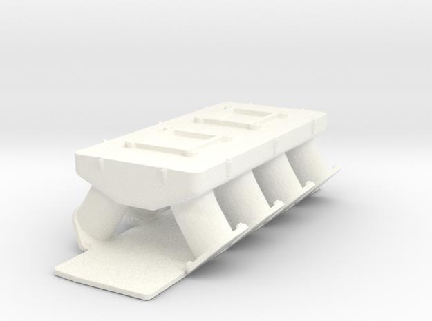 AJPE Hemi 1/12 2x4bbl intake in White Strong & Flexible Polished