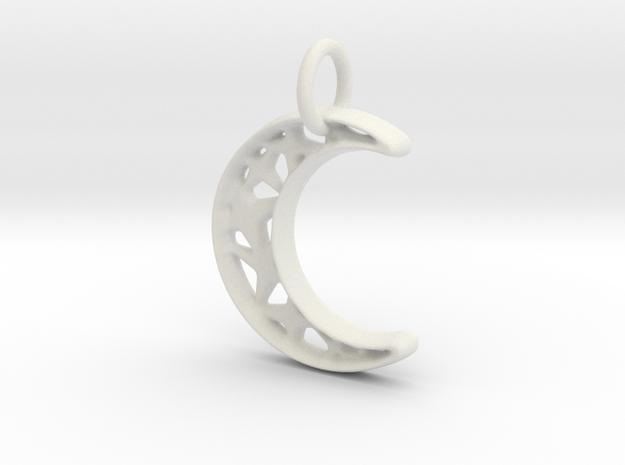 Glistening Moon 20mm Pendant in White Natural Versatile Plastic
