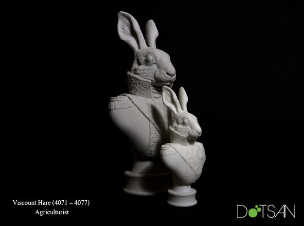 Small Viscount Hare Bust in White Strong & Flexible