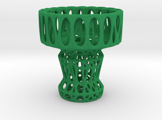 Voronoi Tea Light Holder (04) in Green Processed Versatile Plastic