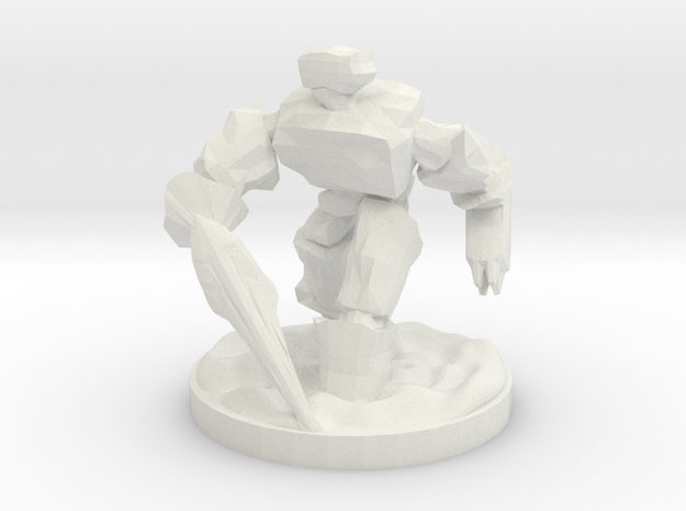 Stone Golem in White Natural Versatile Plastic