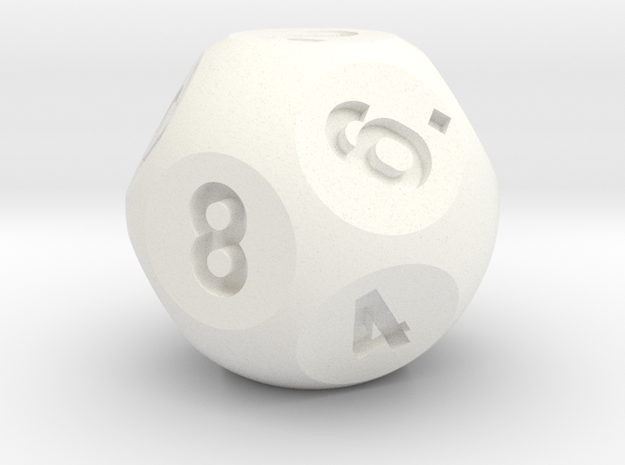 Rhombic Dodecahedral d12 Jumbo Sphere Dice  in White Processed Versatile Plastic