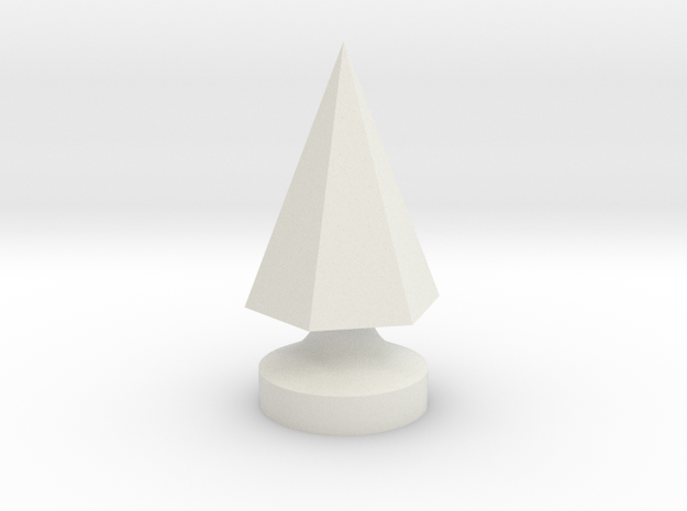6-Side Pyramid Tree Spike in White Natural Versatile Plastic