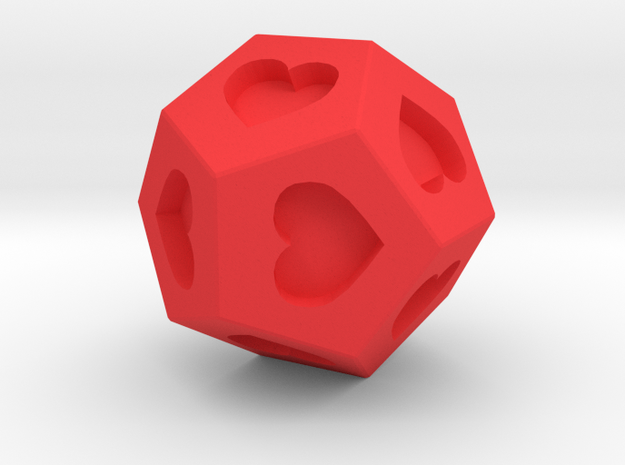 d12 Hearts in Red Processed Versatile Plastic