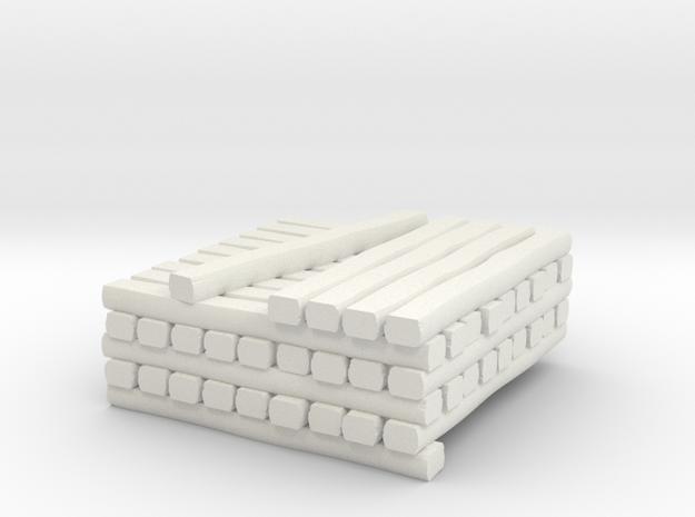 N Standard Gauge Cross Tie Partial Stack in White Natural Versatile Plastic
