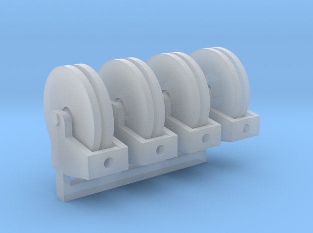 Hose Reel Flat Base 1-87 HO Scale 4 pack in Smooth Fine Detail Plastic
