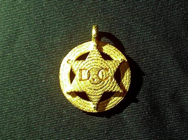Small 6 point Sheriff's Star Pet Tag 3d printed Shown in optional Gold plated finish
