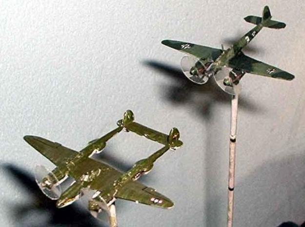 1/300 Focke-Wulf FW187 x 2 3d printed The model, painted, based and with propeller disks from thin plastic added, on the tail of a P-38 Lightning. Propeller disks and base not included.