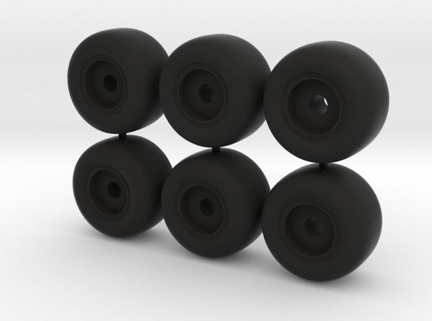 18mm d wide plain wheels in Black Natural Versatile Plastic