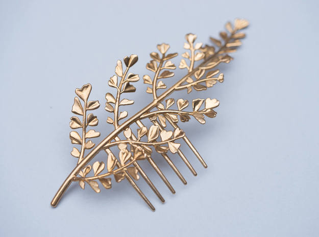 Maidenhair Comb in Natural Brass